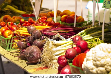 Fresh and local grown vegetables at a market - stock photo