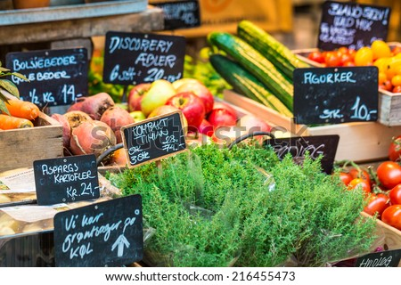 Fresh and organic vegetables at farmers market  - stock photo