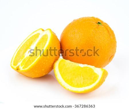 Fresh and Ripe Orange - Isolated / Slice of ripe orange isolated on white - stock photo