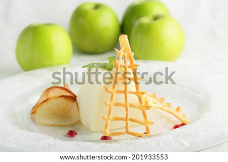 fresh and tasty peace of cake on white background - stock photo