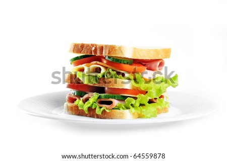 Fresh and tasty sandwich on plate - stock photo