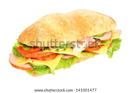 Fresh and tasty sandwich with ham and vegetables isolated on white - stock photo
