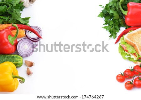 Fresh and tasty sandwich  with vegetable on white background - stock photo