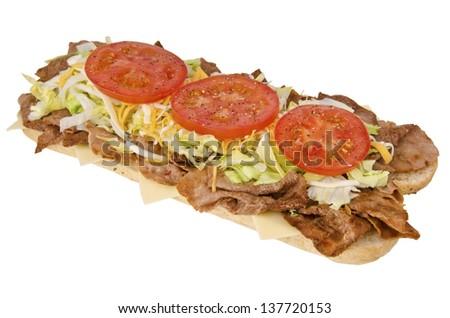 Fresh and tasty submarine sandwich, isolated on white background. - stock photo