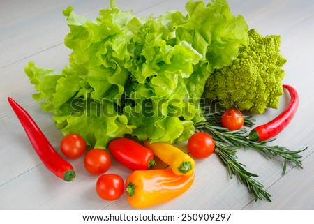 Fresh and variety vegetables - stock photo