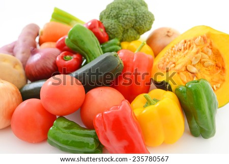 Fresh and variety vegetables and fruits - stock photo