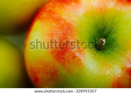 Fresh apple close up. Selective focus. - stock photo