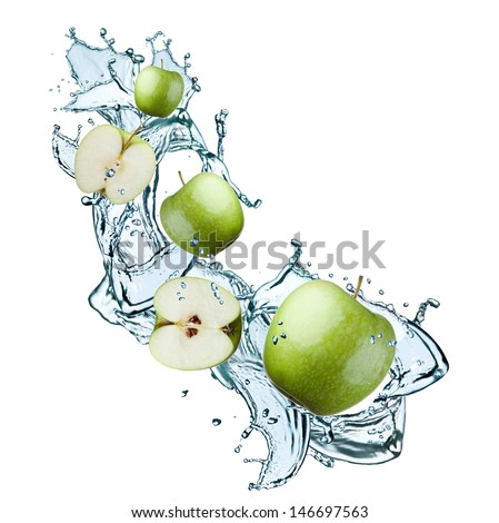 fresh apple in water splash - stock photo