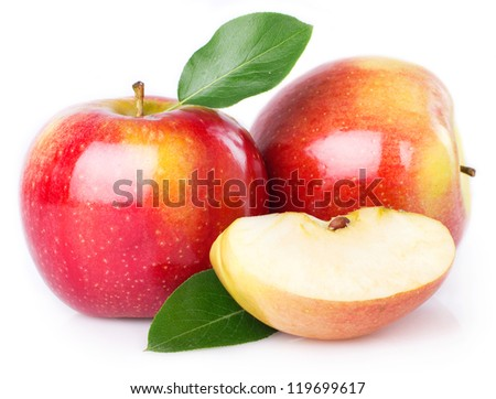fresh apple isolated on white background - stock photo