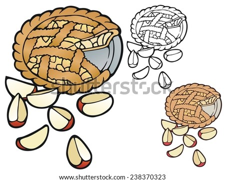 Fresh apple pie with variations - stock photo