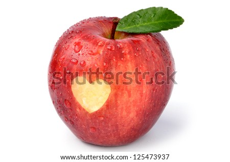 Fresh apple with heart shape cutting - stock photo