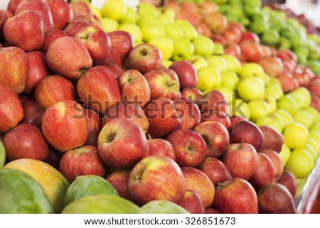 Fresh apples in supermarkets (selective focus) - stock photo