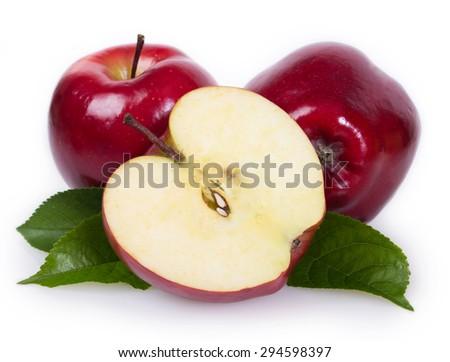 fresh apples isolated on white background - stock photo