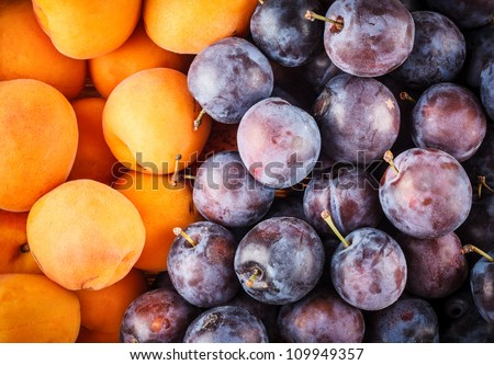 Fresh Apricot and Plum Berries Background, Texture - stock photo