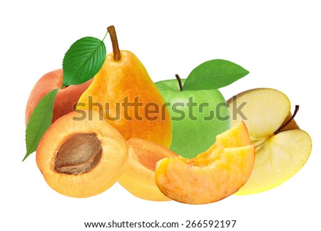 fresh apricot, peach, apple and pear isolated on white background - stock photo