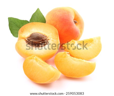 Fresh apricot with leaf - stock photo