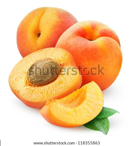 Fresh apricots isolated on white - stock photo