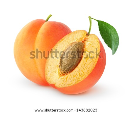 Fresh apricots isolated on white - stock photo