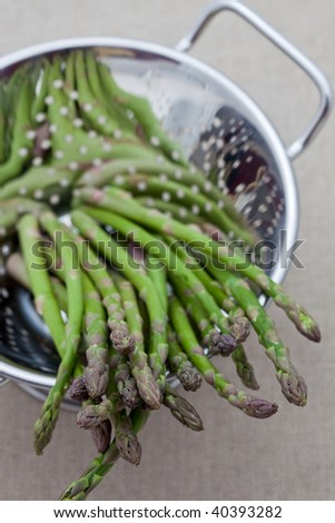 Fresh asparagus in a colander - stock photo