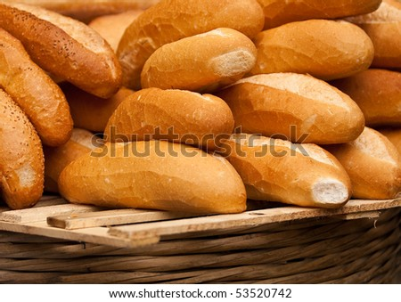 fresh baguettes - stock photo