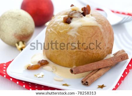 fresh baked apple with raisin - stock photo