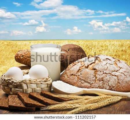 fresh baked bread and ingredients to prepare against a wheat field - stock photo
