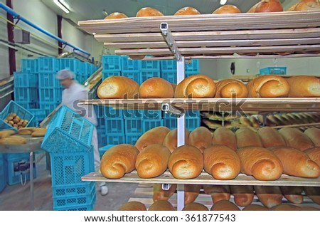 Fresh baked bread in bakery, packing and sorting for the retail - stock photo