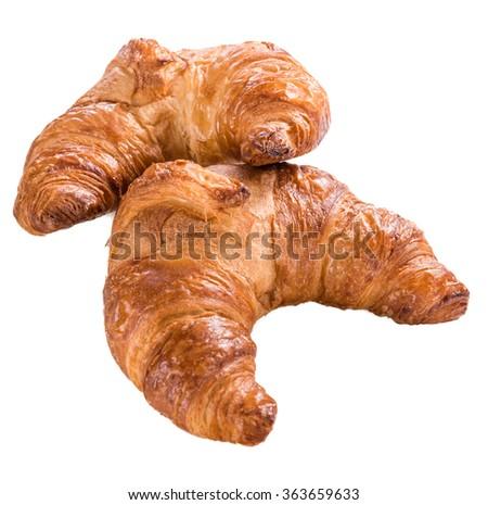 Fresh baked Croissants isolated on white background - stock photo