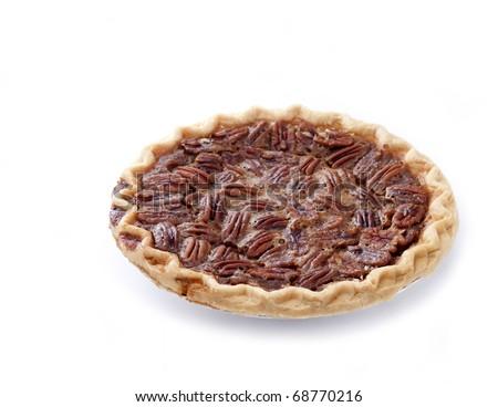 Fresh baked pecan pie isolated on white - stock photo