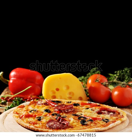 fresh baked pizza with  diferent ingredients - stock photo