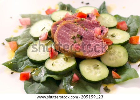 Fresh baked red meat on the top of vegetables  - stock photo