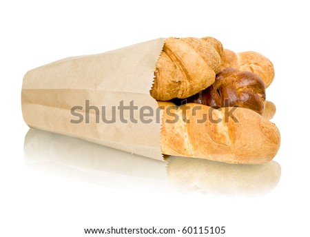 fresh baked rolls in a basket on white - stock photo