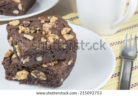 Fresh baked Walnut Brownies - stock photo