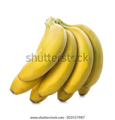 Fresh bananas isolated on a white background - stock photo