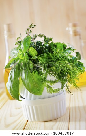 fresh basil and other aroma greens - stock photo