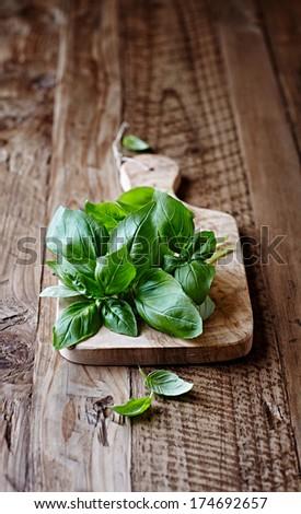Fresh basil on a wooden chopping board - stock photo