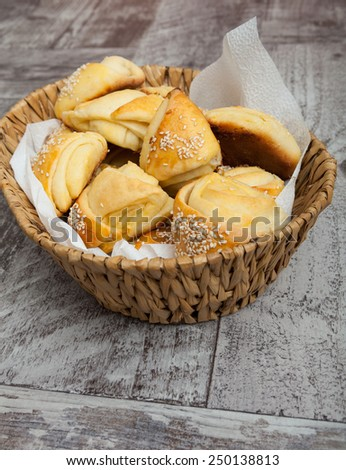 Fresh beakied small bread like snacks - stock photo