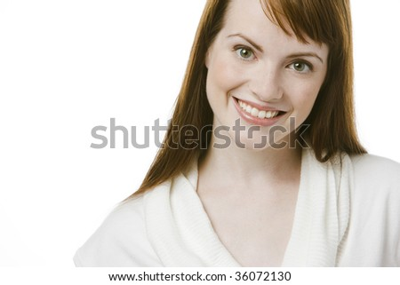 Fresh beautiful model over white background - stock photo