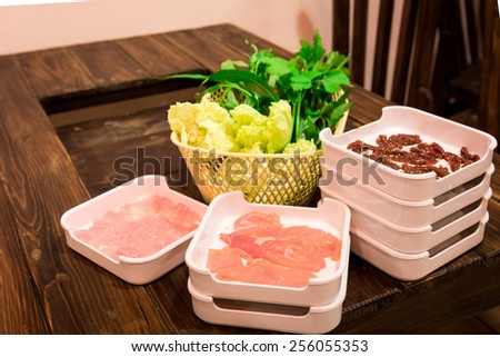 Fresh Beef and pork slices for Sukiyaki - stock photo