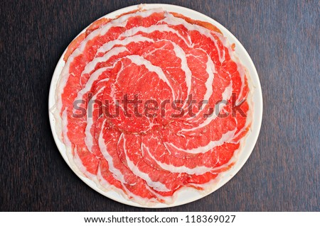 Fresh Beef and pork slices for Sukiyaki japanese food - stock photo