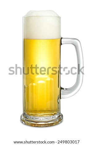 fresh beer in mug on white background - stock photo