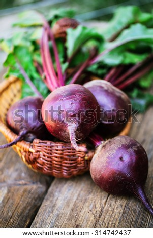 Fresh beet on wooden background - stock photo