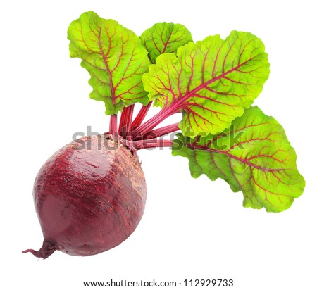 Fresh beetroot with leaves isolated on white - stock photo