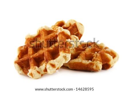 fresh Belgian waffles isolated on white - stock photo