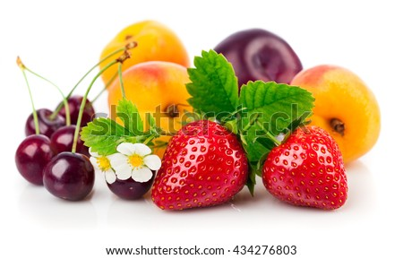 Fresh berries and fruits in still life with green leaves strawberry apricot cherry plum isolated on white background - stock photo