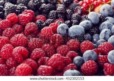 Fresh berries assortment , close up - stock photo