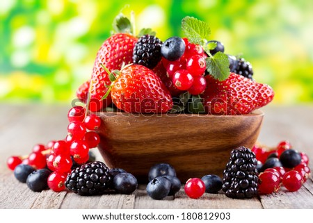 fresh berries in a bowl - stock photo