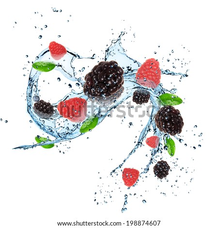 Fresh berries with water splash over white background - stock photo
