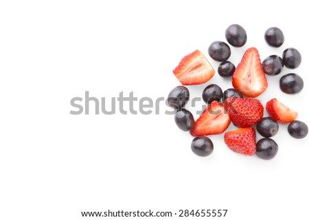 Fresh Berry Fruits Isolated on White Background. - stock photo