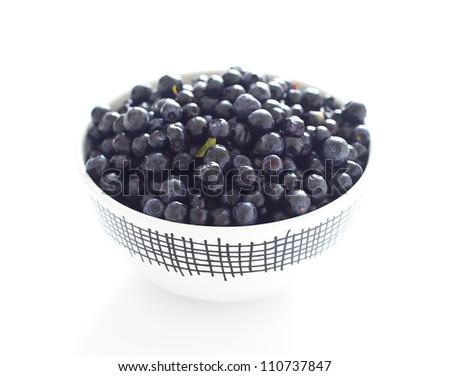 fresh bilberries - stock photo